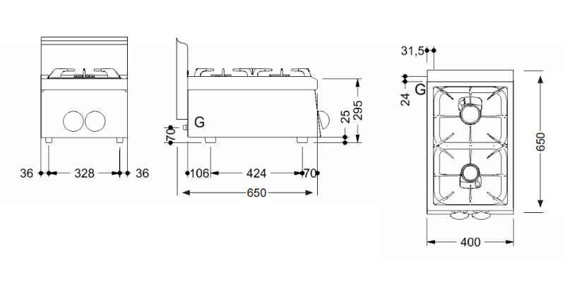 Piano cottura gas professionale 2 fuochi, profondità 650 | dfoods