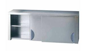 Pensile con ante scorrevoli in acciaio inox profondità 400 portata KG. 50