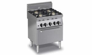 Cucina gas professionale 4 fuochi forno gas statico