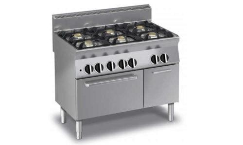 ECG65F, cucina a gas professionale 6 fuochi, forno a gas