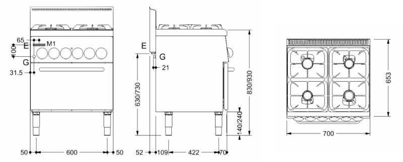 Scheda tecnica ECG64EV Cucina a gas professionale 4 fuochi