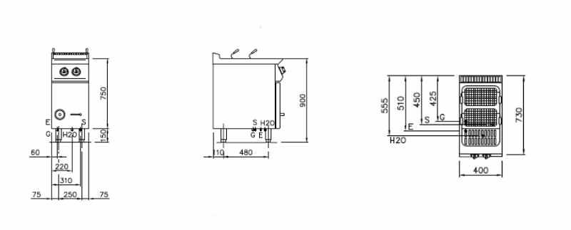 NEDG72128M, cuocipasta a gas lt.28 carico manuale
