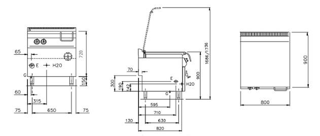 NESG94_RM, brasiere a gas 80 Lt. ribaltamento manuale