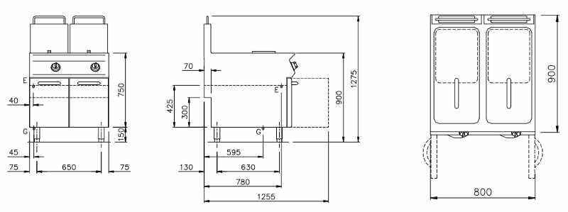 NEFG94223K, Friggitrice a Gas due vasche Lt. 23 + 23
