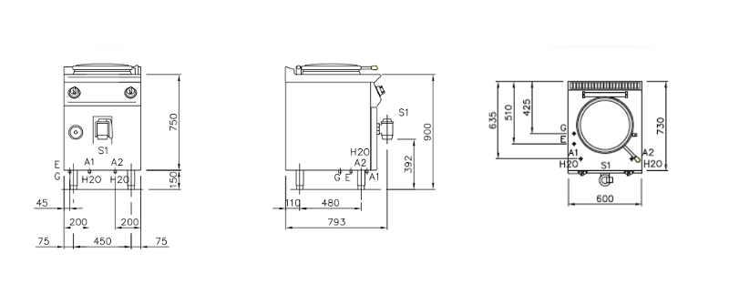 NEPG7D05, pentola a gas riscaldamento diretto