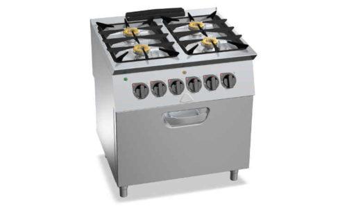 SG7F4+FG, cucina a gas 4 fuochi su forno a gas 2/1 gn