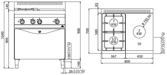 G7T4P2F+FG1, tuttapiastra a gas + 2 fuochi su forno gas