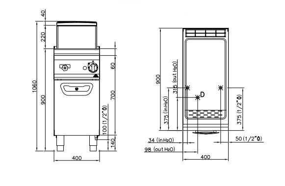SG9CP40, cuocipasta a gas su vano