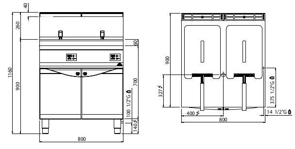 9GL20+20MEL, friggitrice a gas 20+20 l con comandi elettronici