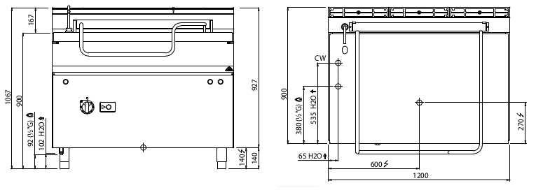 G9BR12/I+RM, brasiera a gas 120 litri, ribaltamento motorizzato