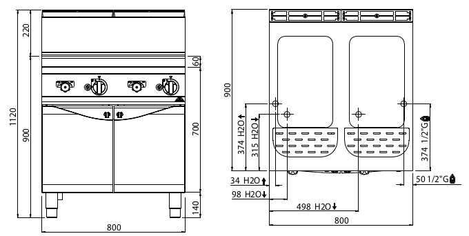 G9CP80, cuocipasta a gas 40 + 40 litri