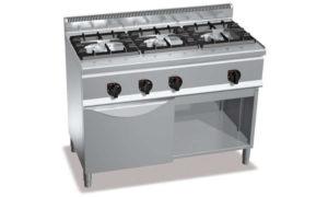 G6F3H12+FG1, cucina a gas 3 fuochi su forno a gas 1/1