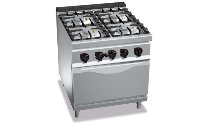 G9F4PW+FE1, cucina a gas 4 fuochi su forno el. 1/1