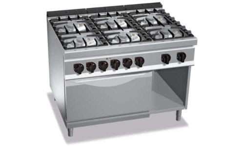 G9F6PW+FE, cucina a gas 6 fuochi su forno el. 2/1