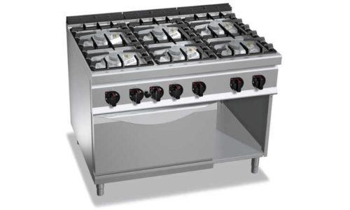G9F6PW+FG1, cucina a gas 6 fuochi su forno a gas 1/1
