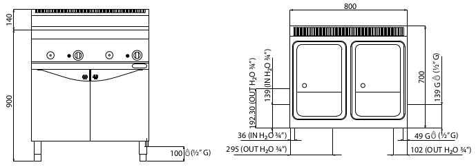 CPG80E, cuocipasta a gas - 30+30 l