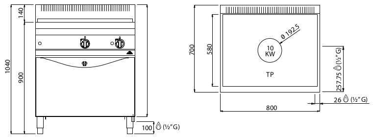 G7TP+FG, tuttapiastra a gas su forno gas 2/1