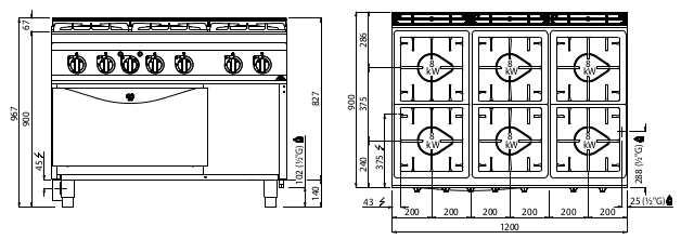 G9F6PW+FE1, cucina a gas 6 fuochi su forno el. 1/1