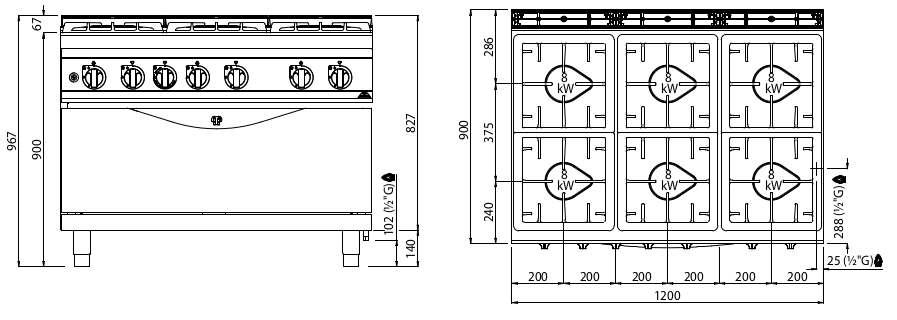G9F6PW+T, cucina a gas 6 fuochi su tuttoforno a gas