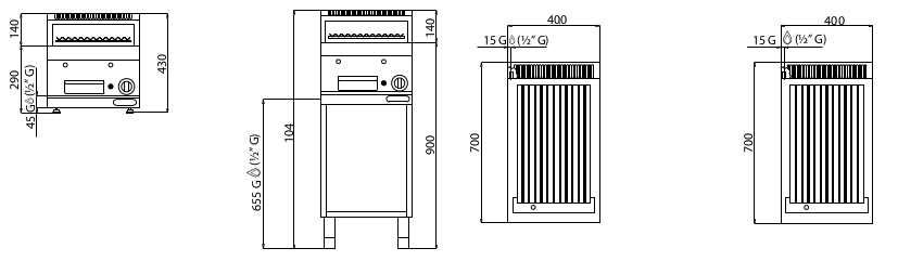 PLG40M/G, griglia pietralavica a gas su vano