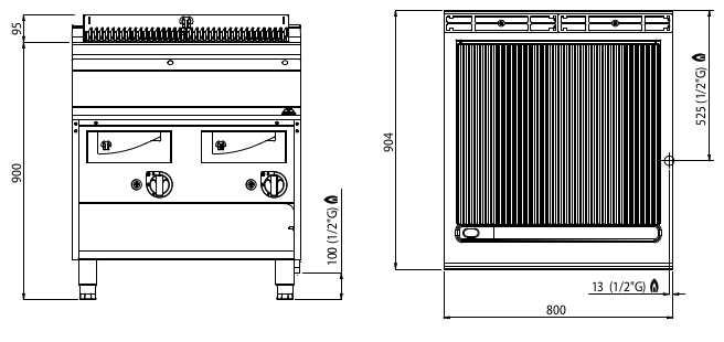 G9WG80M, griglia a gas con acqua su mobile