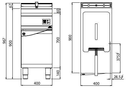 E9F18-4MEL, friggitrice elettrica 18 l su vano