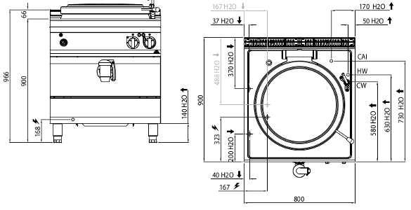 E9P10I, pentola elettrica a riscaldamento indiretto 100 l