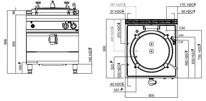 E9P10IA, pentola elettrica a riscaldamento indiretto 100 l con autoclave