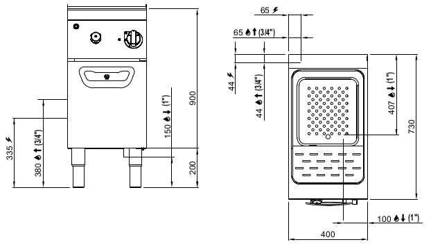 SE7CP40M, cuocipasta elettrico 30 l