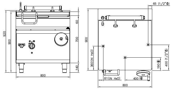 SE9BR8/I+CDP, brasiera ribaltabile elettrica 80 litri