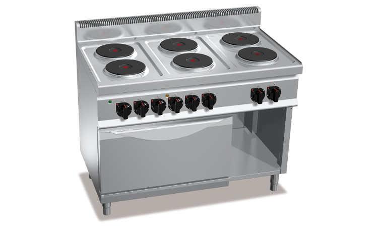 E7P6+FE, cucina elettrica 6 piastre tonde + forno elettrico 2/1
