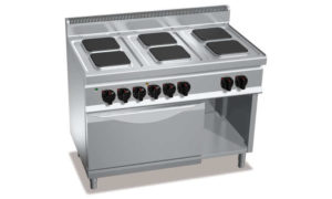 E7PQ6+FE, cucina elettrica 6 piastre quadre + forno elettrico 2/1