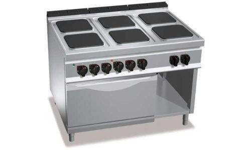E9PQ6+FE, cucina elettrica 6 piastre quadre, forno elettrico 2/1