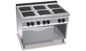 E9PQ6+FE1, cucina elettrica 6 piastre quadre + forno elettrico 1/1