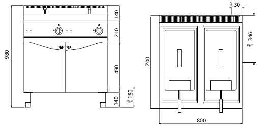 E7F18-8MSEL, friggitrice elettrica 18+18 l con comandi elettronici