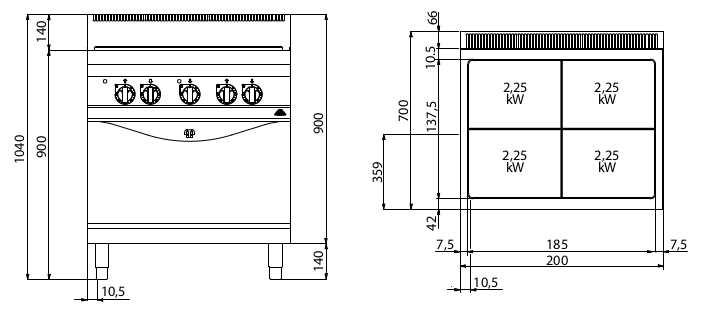 E7TP+FE1, tuttapiastra elettrico + forno el. 1/1