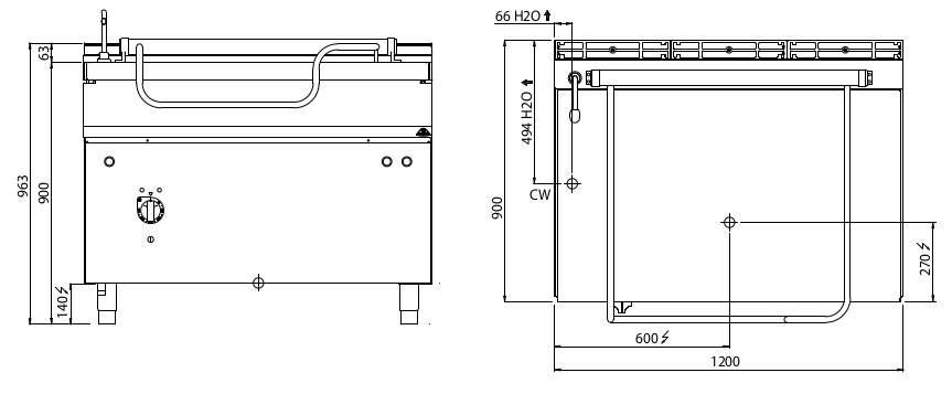 E9BR12/I+RM, brasiera elettrica 120 litri con ribaltamento motorizzato