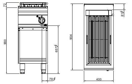 SE9CG40M, griglia elettrica su mobile