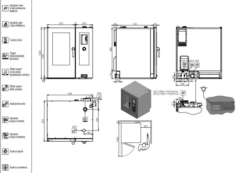 scheda tecnica forno a convenzione LBET101