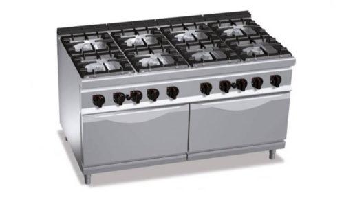 G9F8+2FG, cucina a gas 8 fuochi su 2 forni a gas 2/1