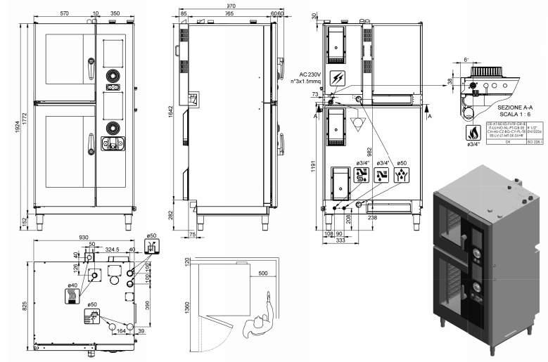 ARGN144R, forno pasticceria a gas 6 X 600X400 + 8 X 600X400