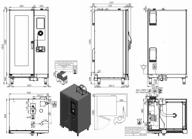 ARGN154R, forno pasticceria a gas 15 X 600 X 400