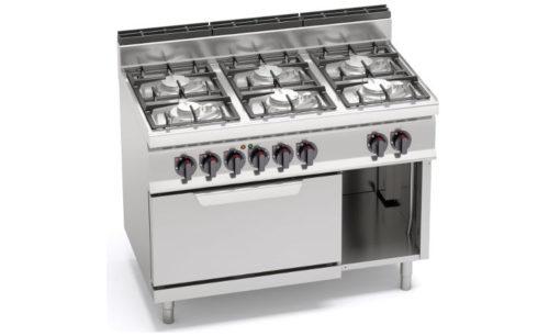 G7F6PW+FE, cucina a gas 6 fuochi su forno elettrico 2/1 gn