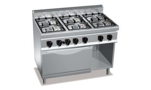 G7F6PW+FE1, cucina a gas 6 fuochi su forno elettrico 1/1 gn