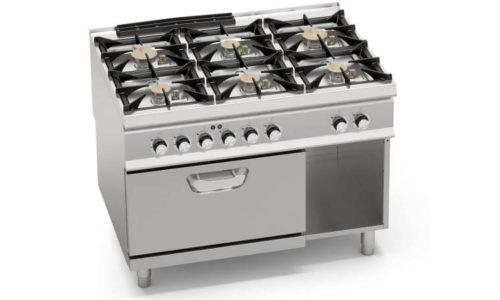 SG9F6PS+FE, cucina a gas 6 fuochi su forno elettrico 2/1 gn