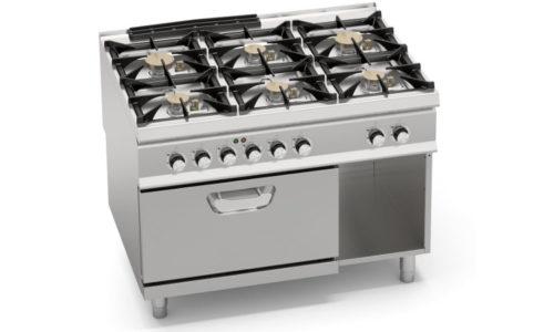 SG9F6PSP+FE, cucina a gas 6 fuochi potenziata su forno elettrico 2/1 gn