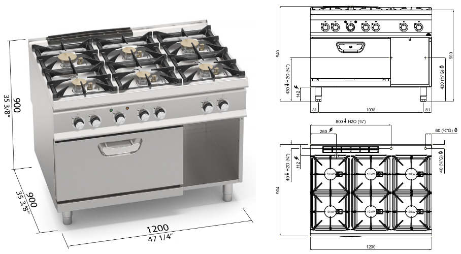 SG9F6PSP+FE2, cucina a gas 6 fuochi potenziata su forno elettrico 1/1 gn