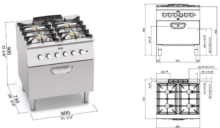 SG7F4+FE, cucina a gas 4 fuochi su forno el. 2/1 gn