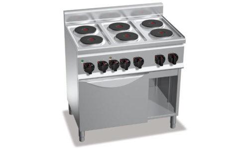 E6P6+FE1, cucina elettrica 6 piastre tonde + forno elettrico 1/1