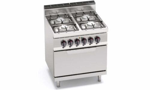 G7F4PW+FE, cucina a gas 4 fuochi su forno elettrico 2/1 gn